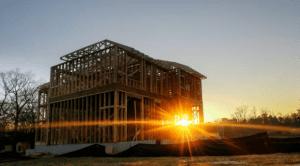 house frames setting sun