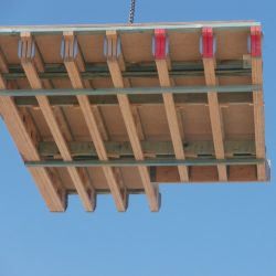 Floor system carried by a crane