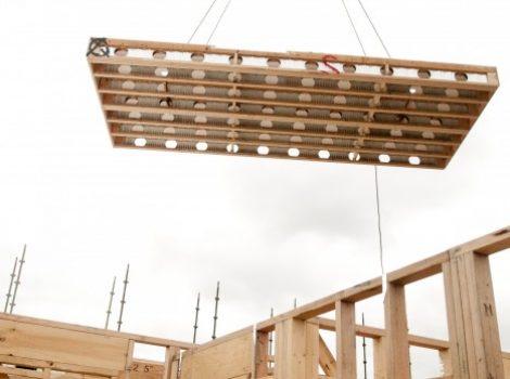 cassett flooring install with a crane